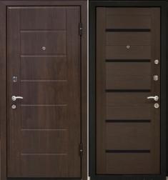Металлическая дверь МаталЮр М7 Венге мелинга - стекло черное