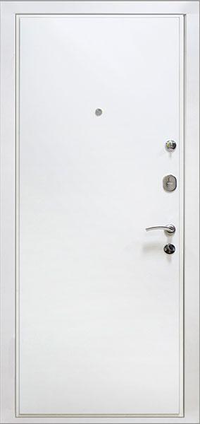дешевая металлическая входная дверь белого цвета
